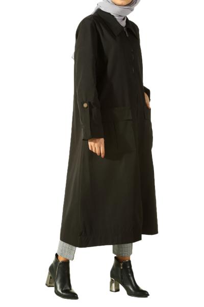 Zippered Pocket Trench Coat