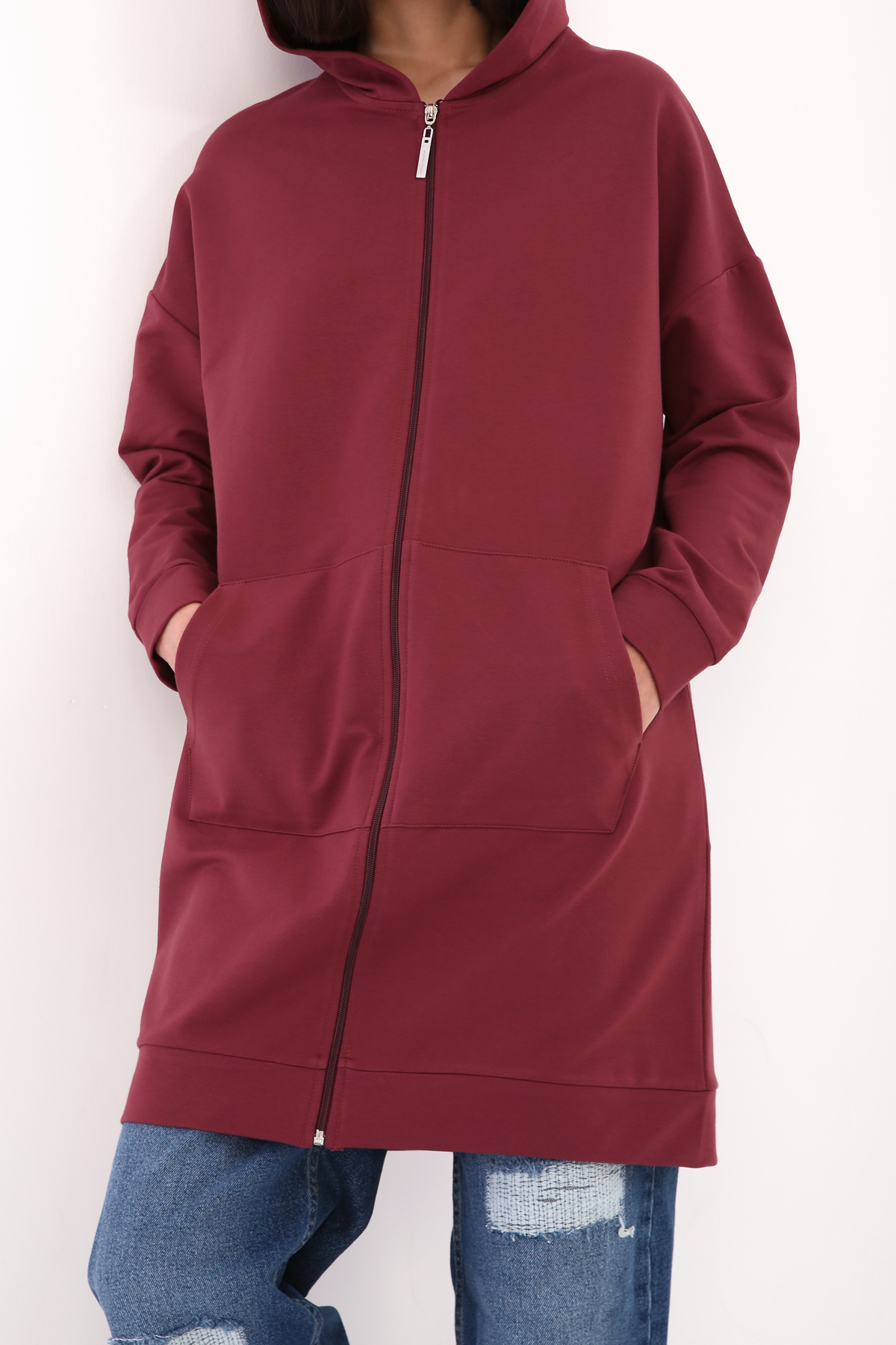 Hooded Zippered Long Cardigan