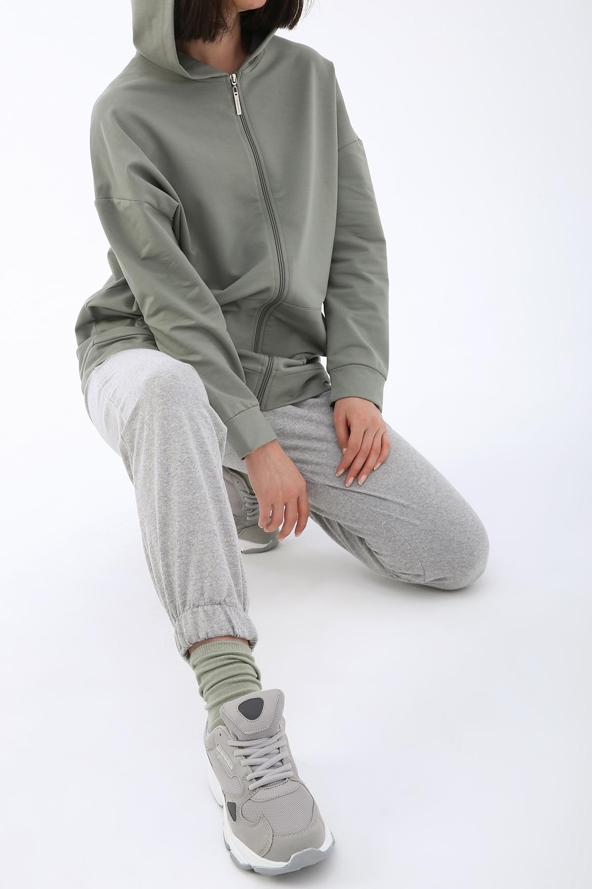 Zipper Front Hooded Cardigan