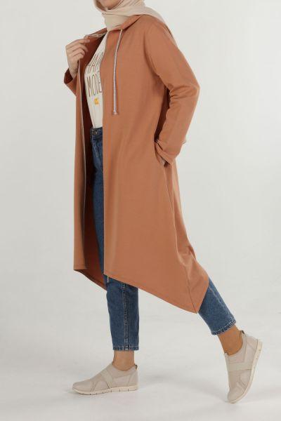 Zippered Hooded Pocket Cardigan