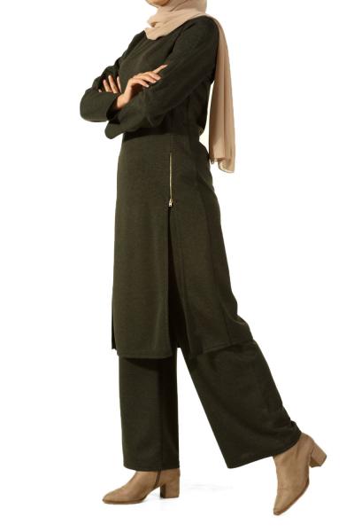 Fermuar Detaylı Tunik Pantolon Takım