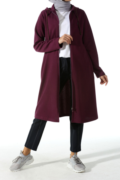 ZIPPERED HOODED COMBED CARDIGAN