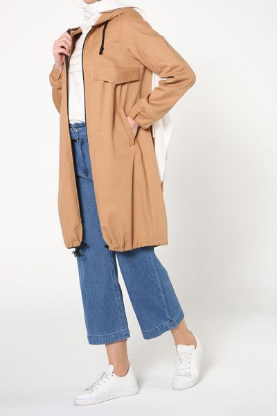 ZIPPERED HOODED TRENCH COAT