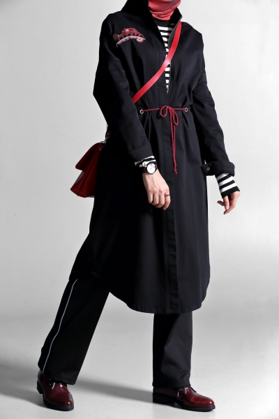 FELT TRENCH WITH ZIPPER