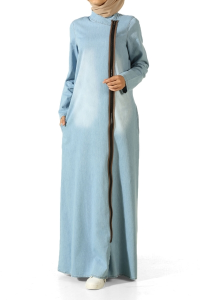 Zipper Denim Abaya