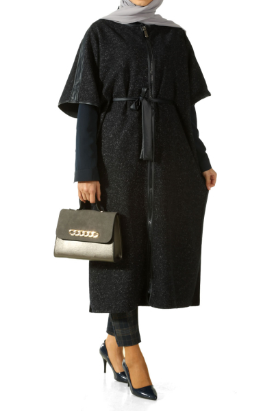 ZIPPER BELTED PONCHO