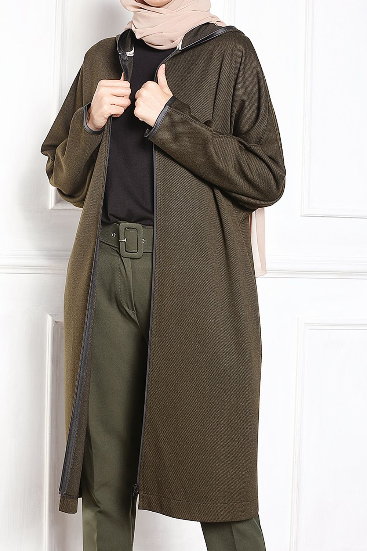 Zippered Batwing Sleeve Cardigan
