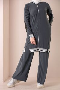 ZIPPERED SEQUINED HIJAB SUIT