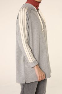 ZIPPERED RAGLAN SLEEVE SWEATSHIRT