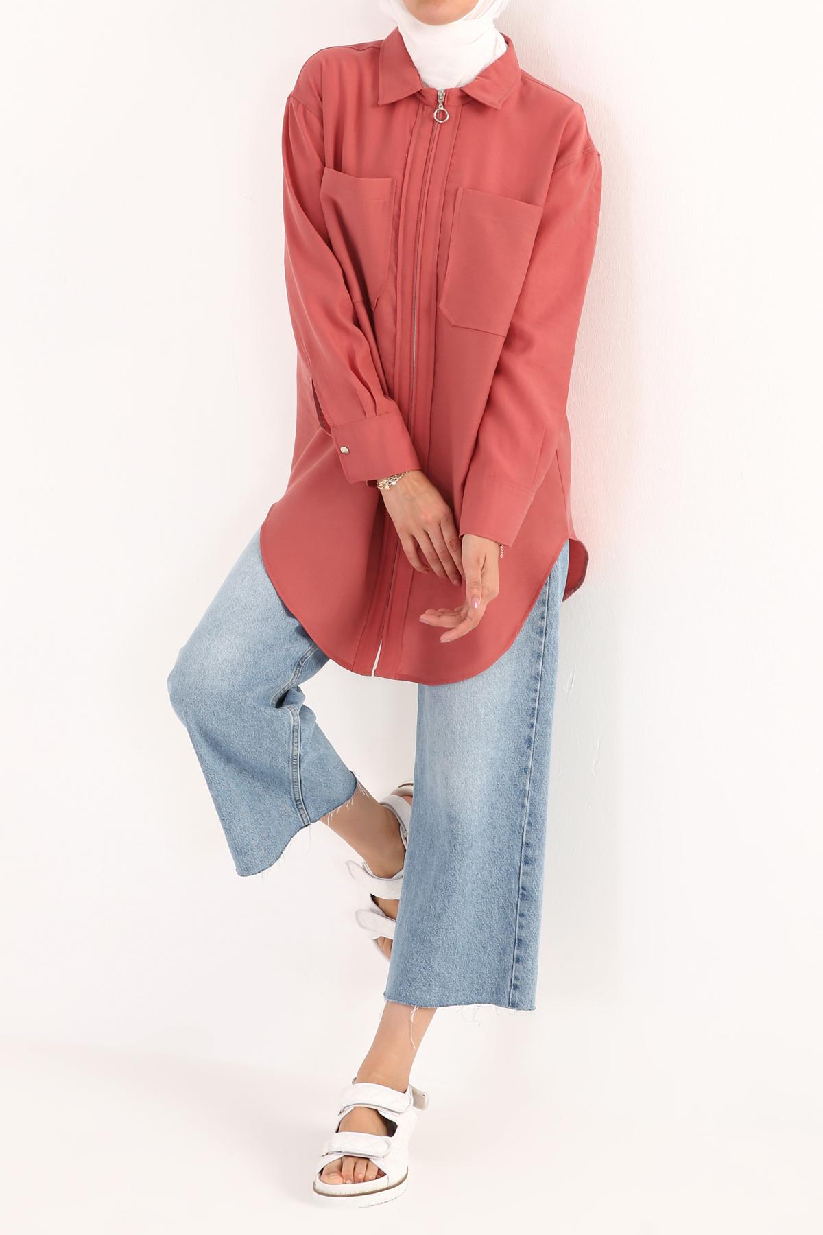 Flap Pocket Zipper Front Comfy Tencel Jacket