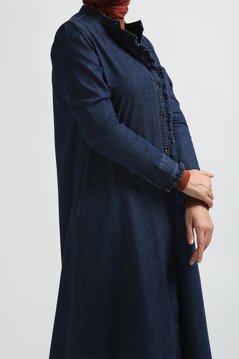 Ruffle Detail Denim Abaya