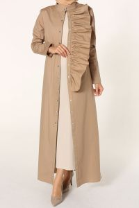 Fırfır Detaylı Çıtçıtlı Elbiseli Takım