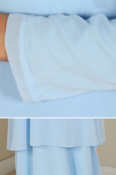 Fırfırlı Astarlı Şifon Elbise