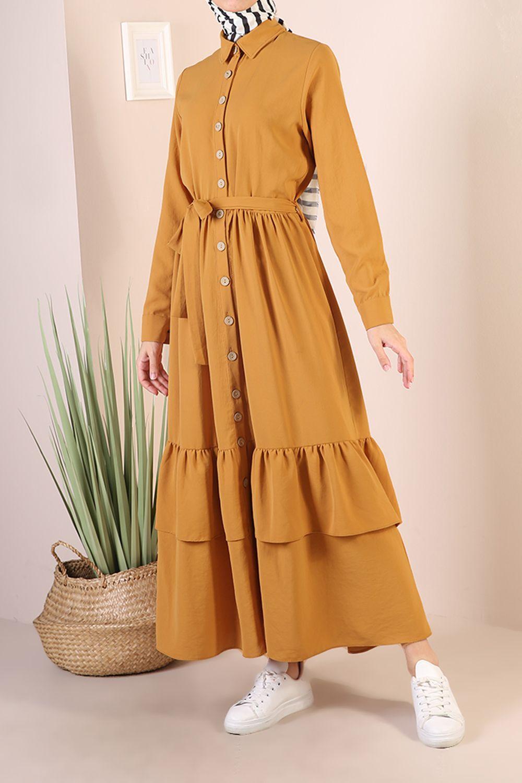 Düğmeli Fırfırlı Elbise