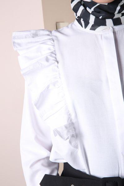 Fırfırlı Gizli Patlı Gömlek Tunik