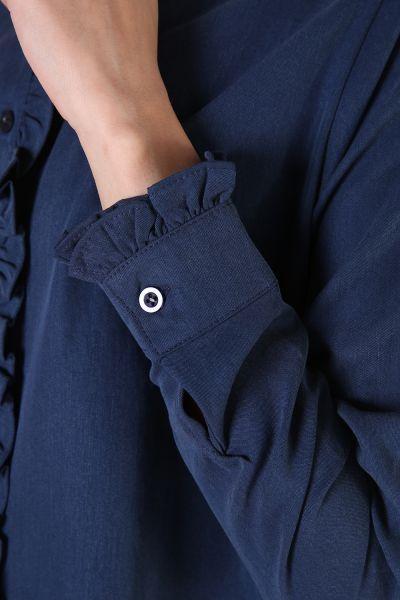 Fırfırlı Düğmeli Tensel Tunik