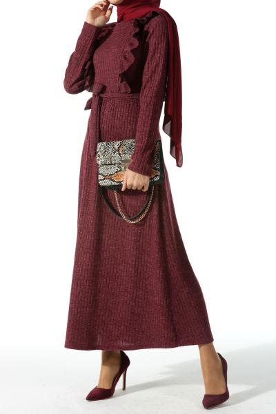 Fırfırlı Triko Elbise