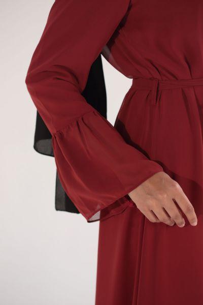 Kat Kat Fırfırlı Kuşaklı Tül Elbise