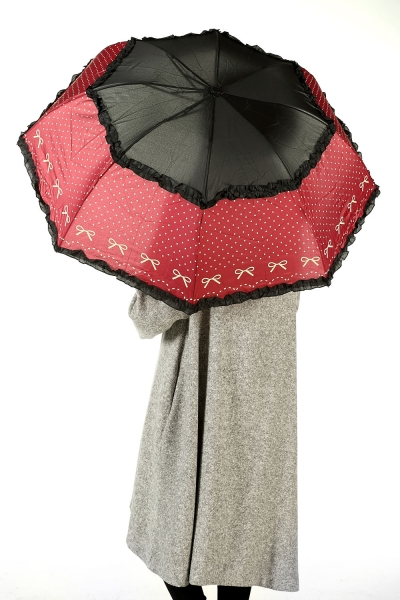 SPOTTED UMBRELLA WITH RIBBON