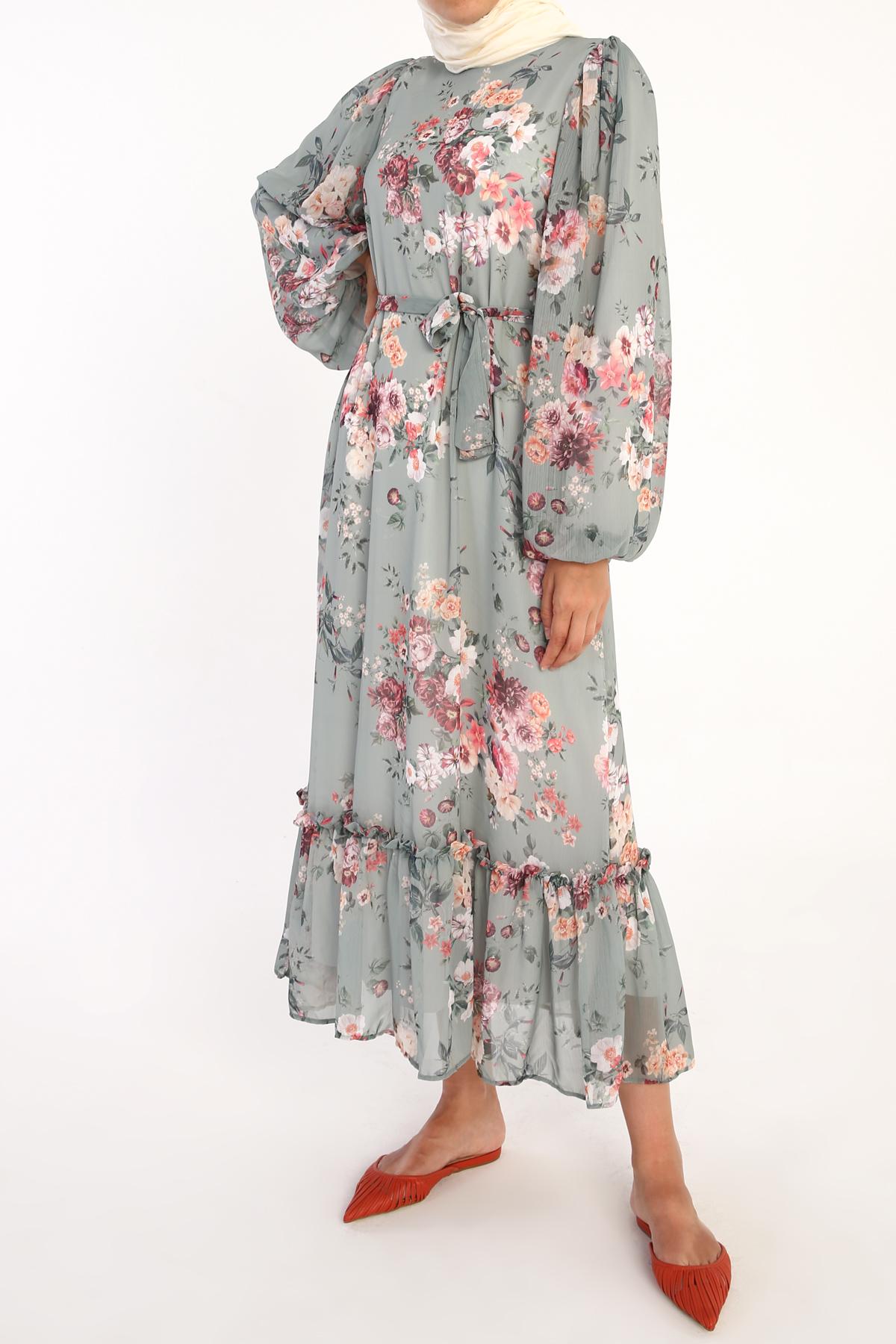 Floral Desenli Balon Kol Şifon Elbise
