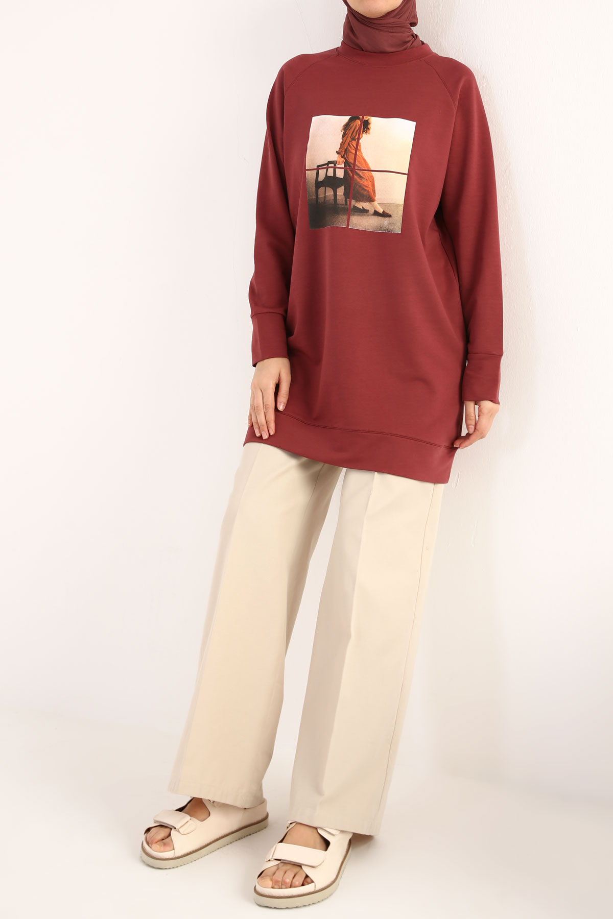 Photo Printed Sweatshirt Tunic