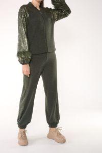 Ftz Pul Payet Fermuarlı Pantolonlu İkili Takım