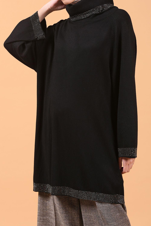 FTZ Eteği Kolları Taşlı Triko Tunik