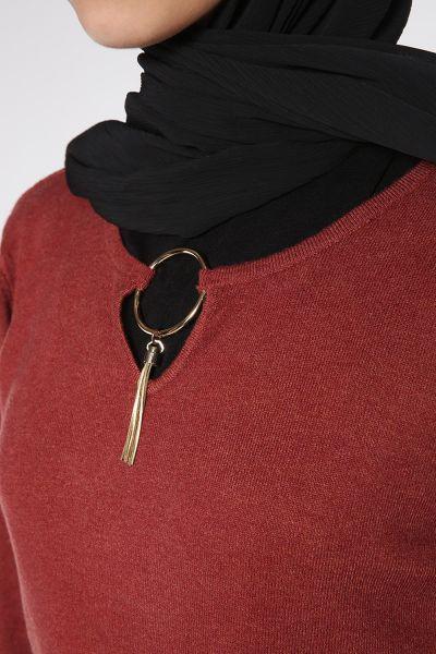 Yaka Detaylı Triko Bluz