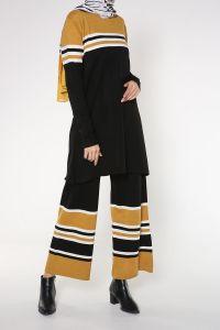 Çizgili Pantolonlu İkili Triko Takım
