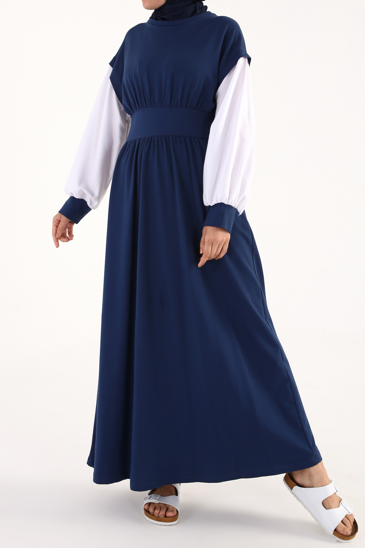 Zippered Crew-Neck Combed Cotton Dress