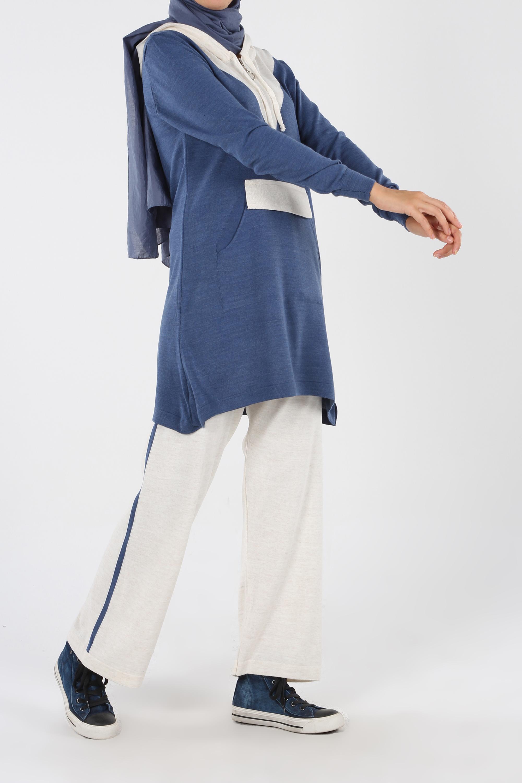 Hooded Zipper Detailed Wide Leg Pants Suit