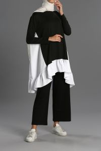 Ruffled Hijab Suit With Pants