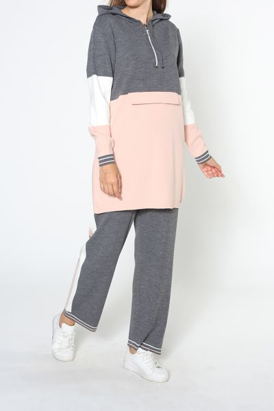 KNITWEAR HIJAB SUIT WITH PANTS