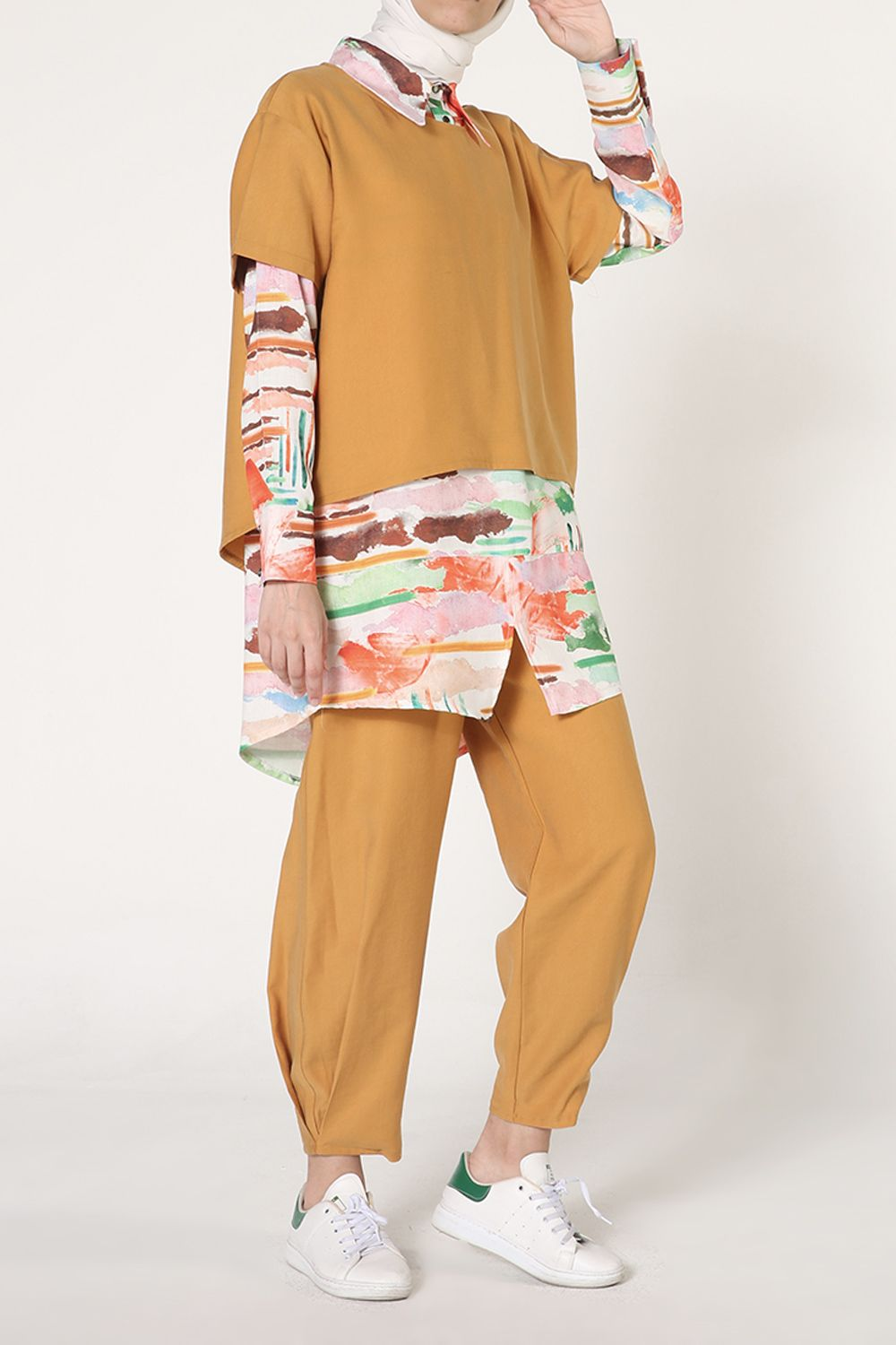 Patterned Blouse Shirt and Pants 3 Pieces Outfit Set