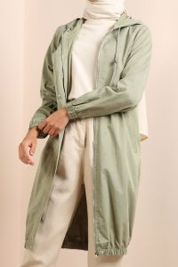 Hooded Patterned Pocket Trench Coat