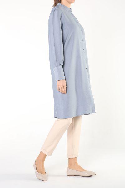 Kol Büzgülü Uzun Gömlek Tunik
