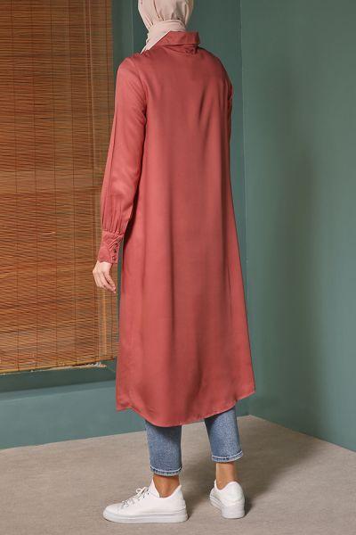 Geniş Yaka Uzun  Gömlek Tunik