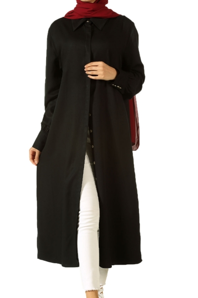 Wide Collar Long Tunic