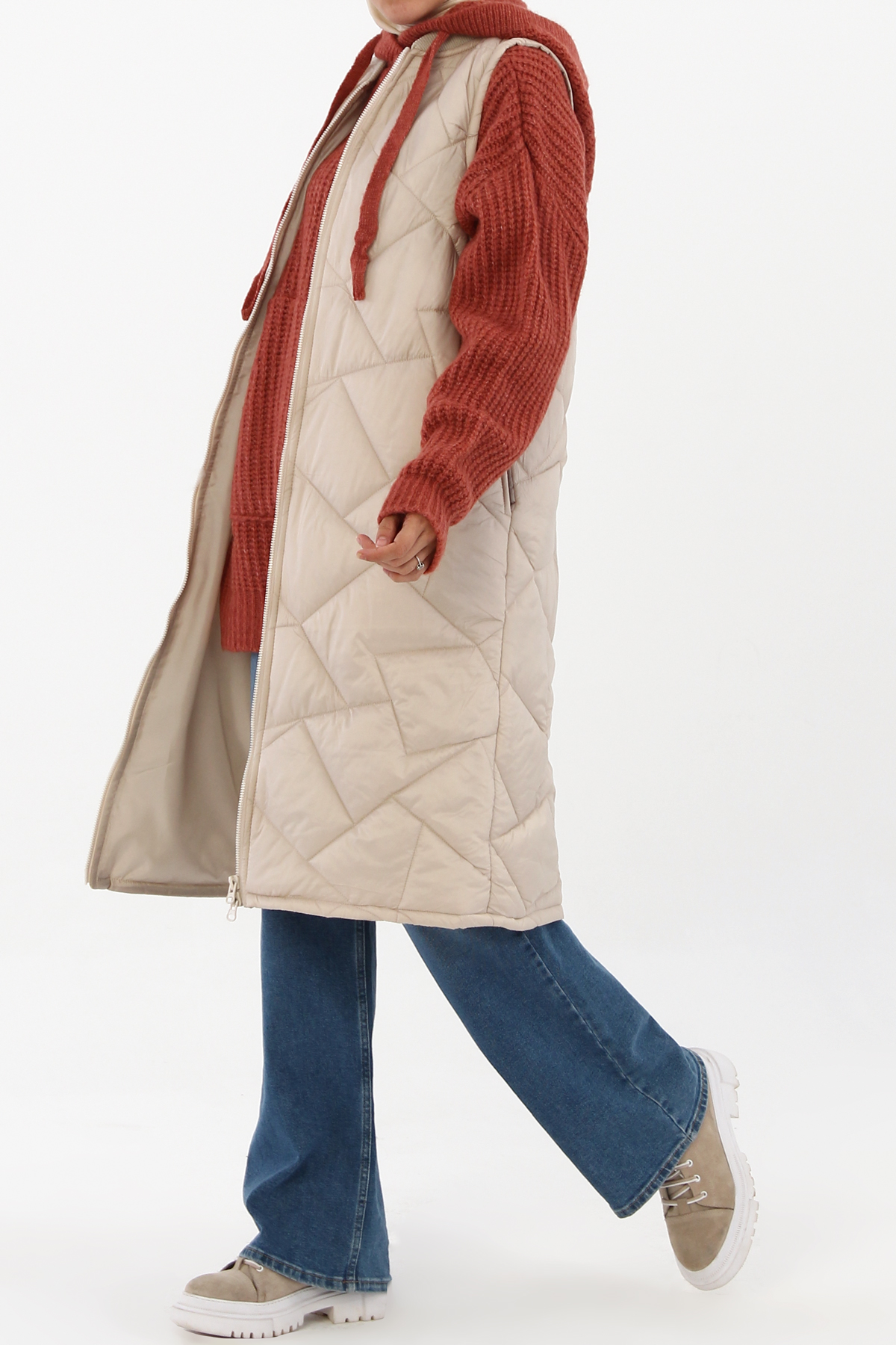 Geometric Pattern Long Quilted Vest