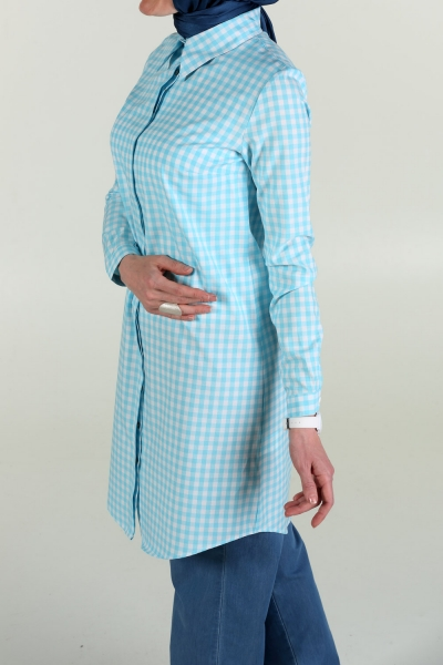 PLAID TUNIC WITH HIDDEN BUTTON