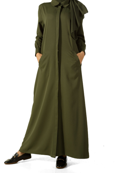 HIDDEN BUTTON ABAYA WITH POCKET