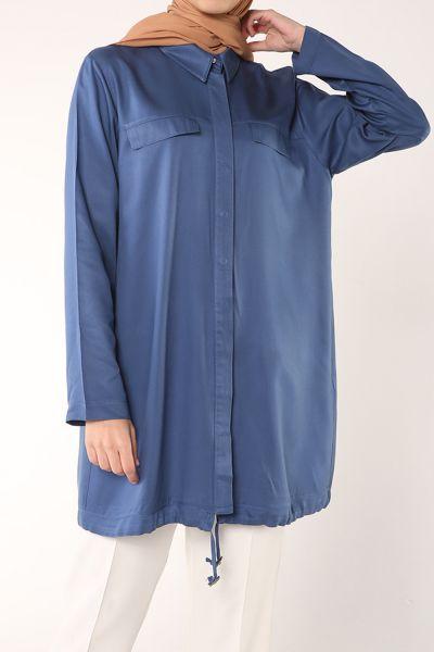 Gizli Patlı Düğmeli Doğal Kumaş Gömlek