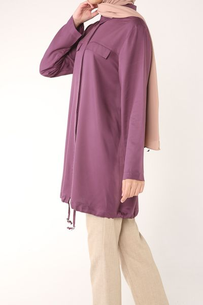 Hidden Buttoned Shirt Tunic