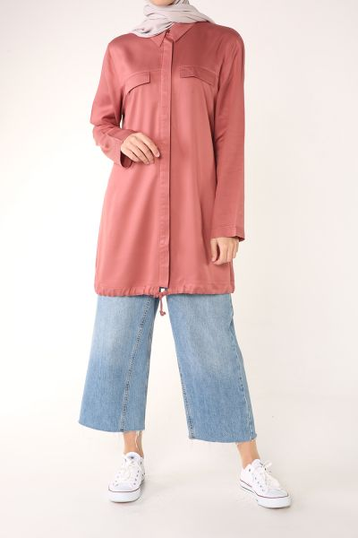 HIDDEN BUTTON NATUREL FABRIC SHIRT