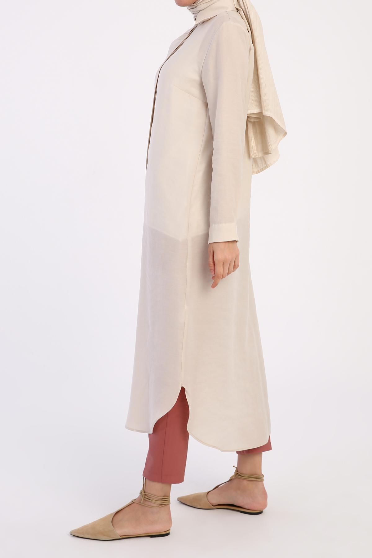 Hidden Button Tencel Shirt Dress