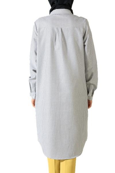 Gizli Patlı Desenli Gömlek Tunik