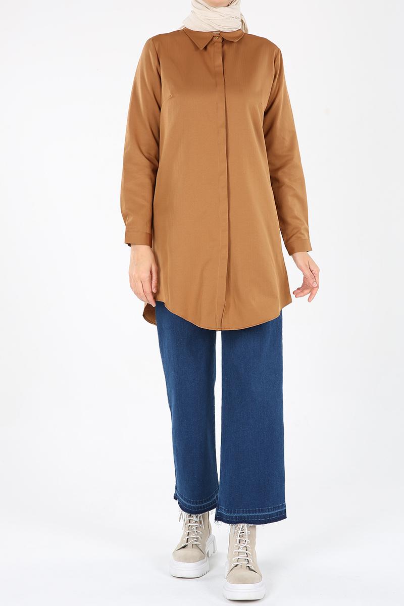 Hidden Button Shirt Tunic