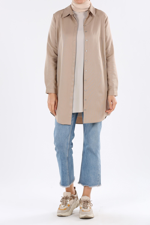 Comfy Hidden Button Front Basic Shirt