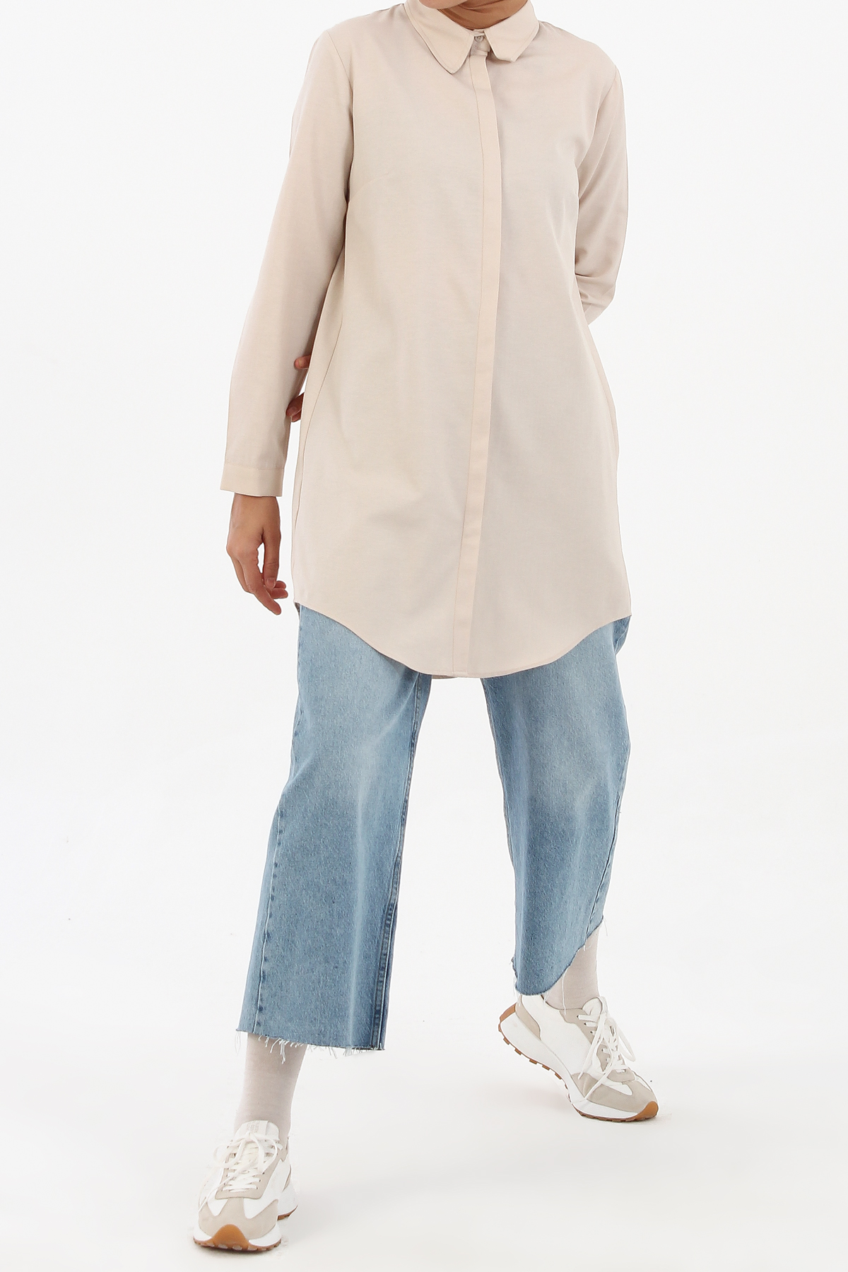 Comfy Hidden Button Front Shirt Tunic