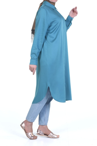 PLEATED OVERSIZE TUNIC WITH HIDDEN BUTTONS